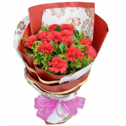 one dozen red carnations in bouquet send to philippines