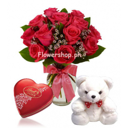 6 Red Rose Vase,Small White Bear with Lindt Chocolate Box Send to Philippines