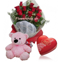 12 Red Rose bouquet,Pink Bear with Lindt Chocolate Box Send to Philippines