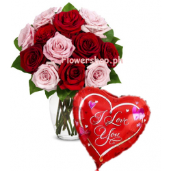 12 Pink & Red Rose vase with Love You Balloon Send to Dhaka