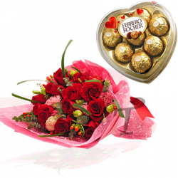 Send 12 red roses with chocolate box of ferrero heat shape