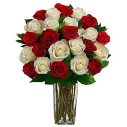 send 24 red and white roses in vase to philippines