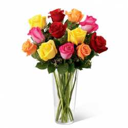 Send 12 Multi color rose in vase send to philippines