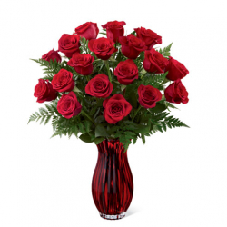 send 12 red rose in red glass vase to philippines