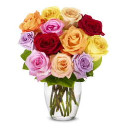 buy one dozen rainbow roses vase in philippines