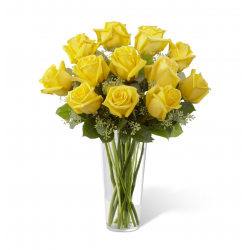 12 yellow roses in vase send to philippines