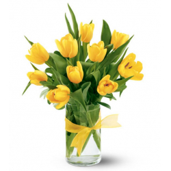 send 12 yellow tulips in vase to philippines
