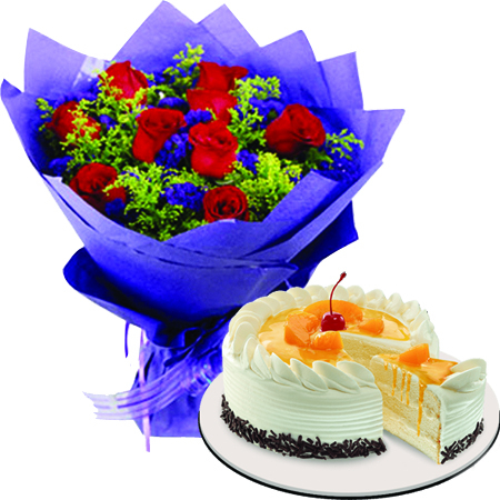 Send 12 Red Roses With Peach Mango Symphony Cake By Ribbon In Philippines