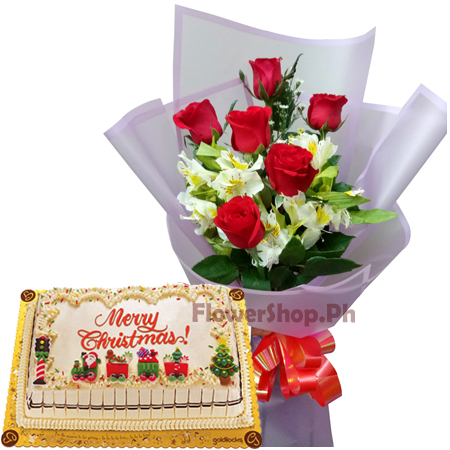 Order 6 Red Roses Bouquet With Goldilocks Carnival Theme Greeting Cake Online Manila City Philippines