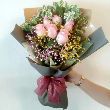 send half dozen pink roses in bouquet to philippines