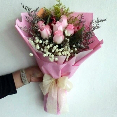 send 6 pcs. pink color roses in bouquet to philippines