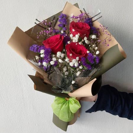 send 3 pcs. red ecuadorian roses bouquet to philippines