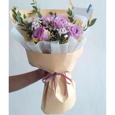 send 6 pcs. purple ecuadorian roses bouquet to philippines