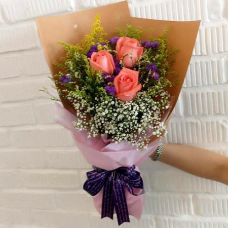 send 3 stems orange ecuadorian roses bouquet to philippines