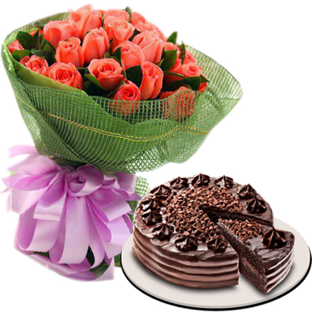 Send 24 Pomelo Rose With Ultimate Chocolate Cake By Red Ribbon In