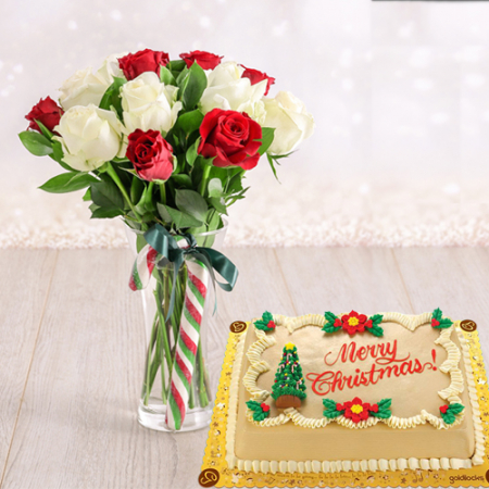 send christmas cake with 12 red and white roses to philippines