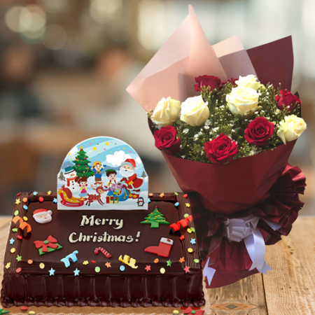 send 12 xmas mixed roses with chocolate cake to philippines