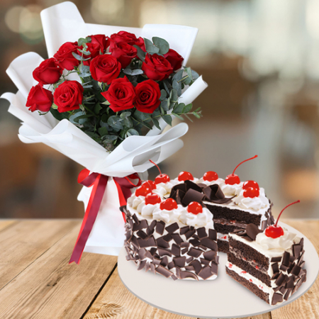 send red roses bouquet with holiday cake to philippines
