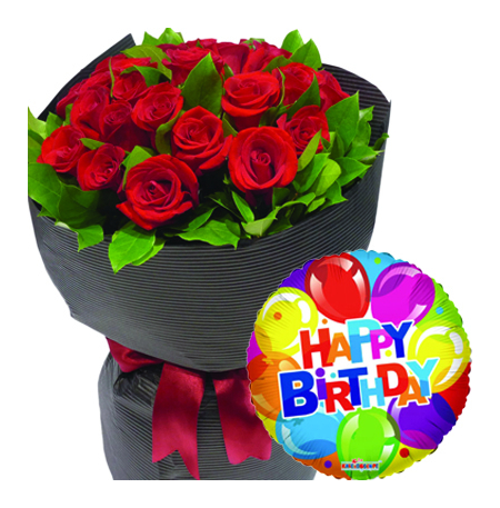Send 24 Red Roses With Mylar Birthday Balloon To PhilippinesDelivery Philippines