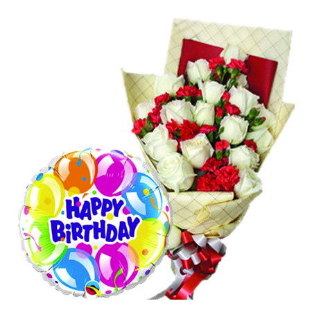 Send 12 Pcs White Roses With Birthday Balloon To PhilippinesDelivery Philippines