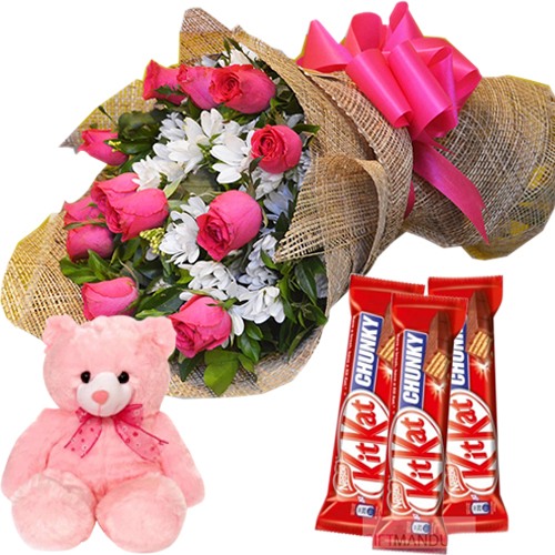 12 Pink Roses With Nestle Kitkat Chunky 3 Bars & Cute Pink Small Bear
