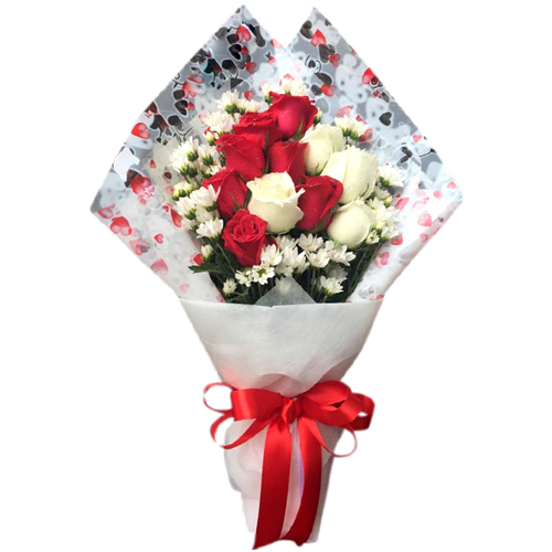 send 11 pcs. red and white ecuadorian roses to philippines