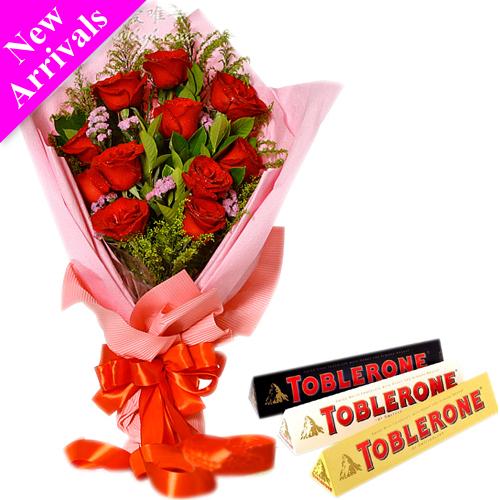 12 Red Roses With Toblerone 3 Varieties Chocolate