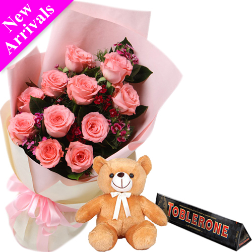 send 12 roses with toblerone chocolate and bear to philippines