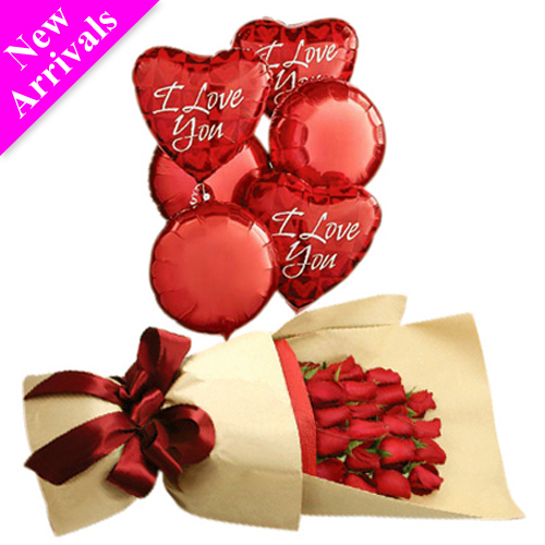 24 Red Roses & 6 Pcs Love you Balloon