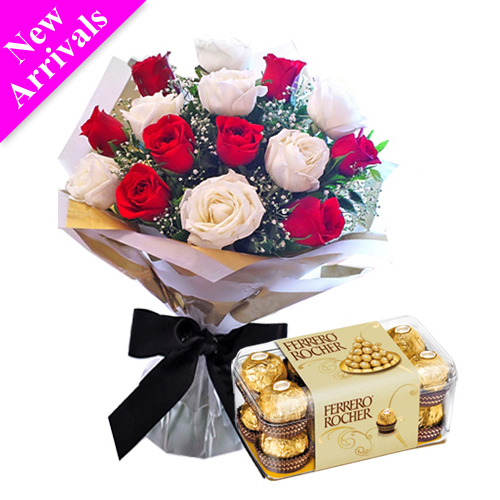 white and red rose bouquet with ferrero rocher box to manila