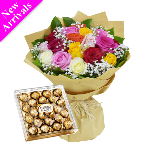 mix roses bouquet with 24 ferrero rocher to philippines