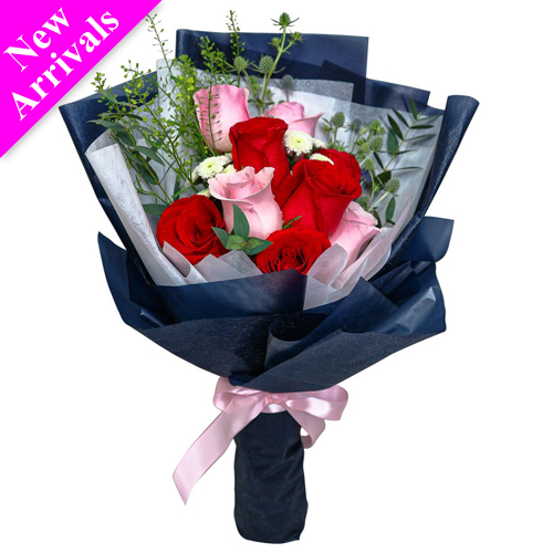 9 Pcs. Red & Pink V-Day Roses Bouquet