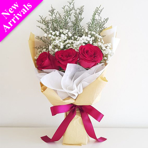 Simple Valentine's 3 Pcs. Roses Bouquet