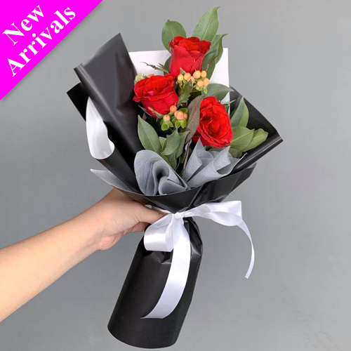 send 3 pcs. fresh red roses in bouquet to philippines