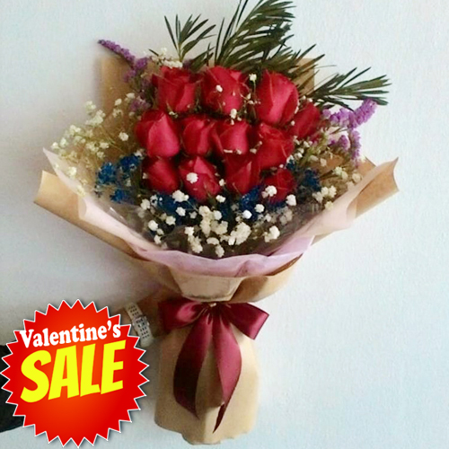 send dozen of fresh red roses in bouquet to philippines