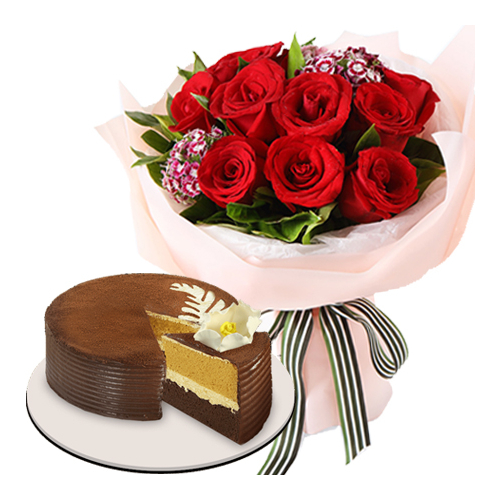 12 Red Rose Bouquet Cappuccino Creme Cake