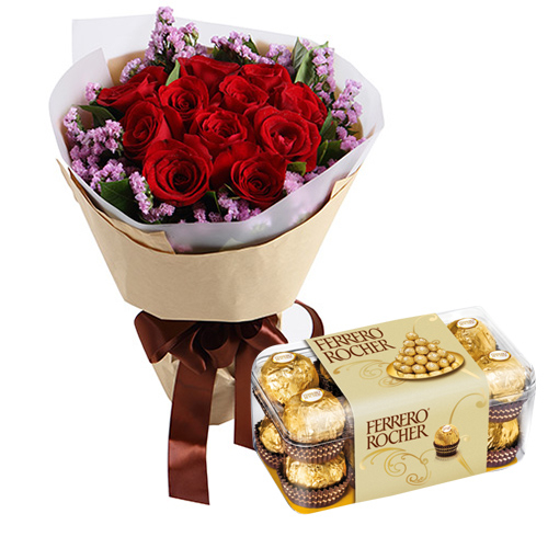 12 Red Roses with Ferrero Chocolate