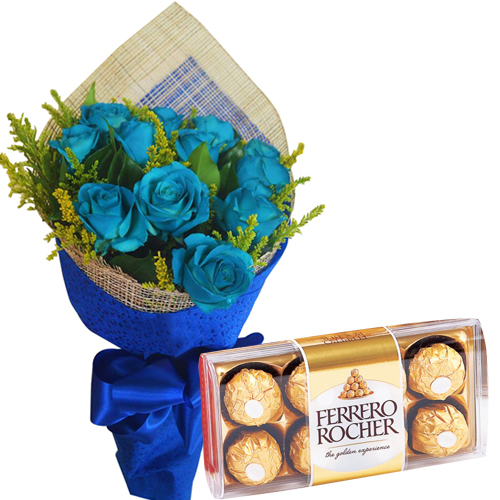 12 Blue Roses with Ferrero Rocher Box