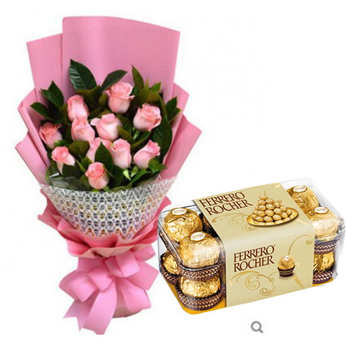 12 Pcs. Pink Roses with Chocolate Box