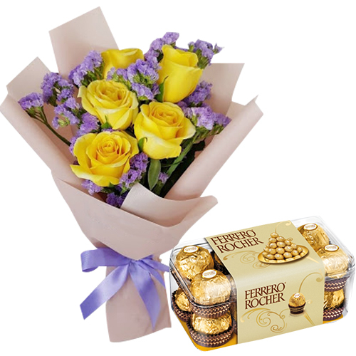 6 Pcs Yellow Roses with Ferrero Box
