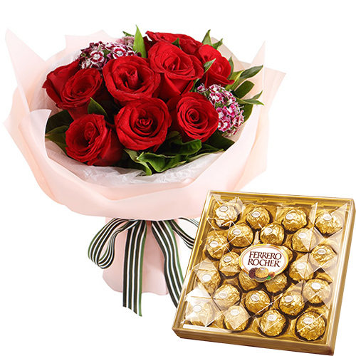 12 Red Roses with Ferrero Chocolate Box