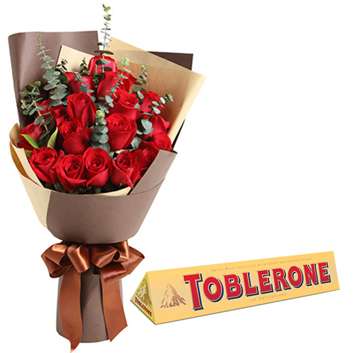 2 Dozen of Red Roses with Chocolate Bar