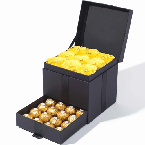 12 Yellow Roses with 12 Ferrero Chocolate in a Box