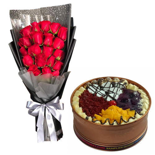 18 Stems Roses with Sampler Can Cake