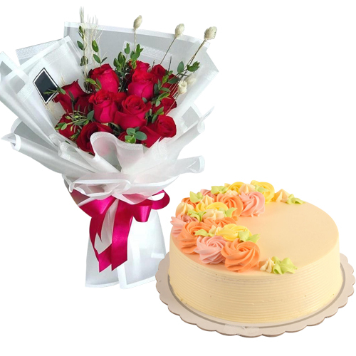 12 Red Roses with Vanilla Message Cake By Max's