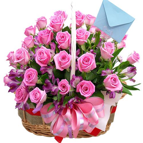24 Pcs. Pink Color Roses in Basket