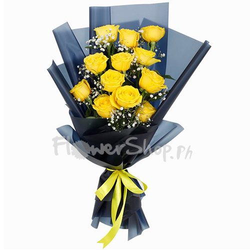 12 pcs. Yellow Roses in Bouquet