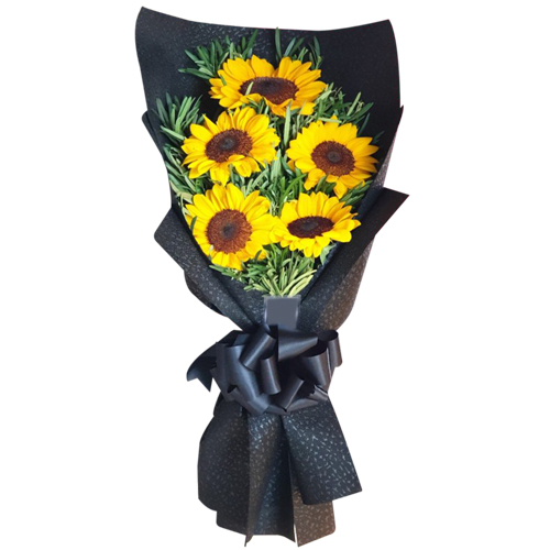 5 pcs Sunflower in Hand Bouquet
