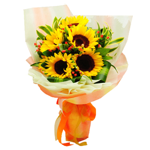 6 pcs Sunflower in a Hand Bouquet