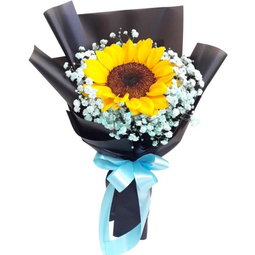 Single Sunflower in Hand Bouquet